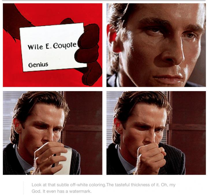 Patrick Bateman Getting Wile E Coyote S Business Card Creepshow Comic American Psycho Coyote