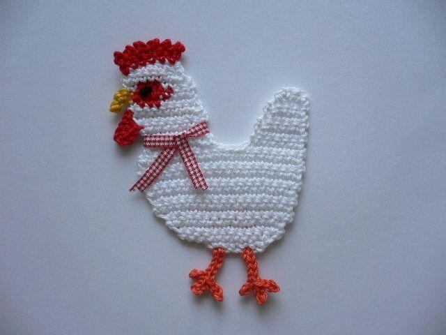 Häkelapplikationen - Huhn - Häkelapplikation - ein Designerstück von Spielkiste bei DaWanda