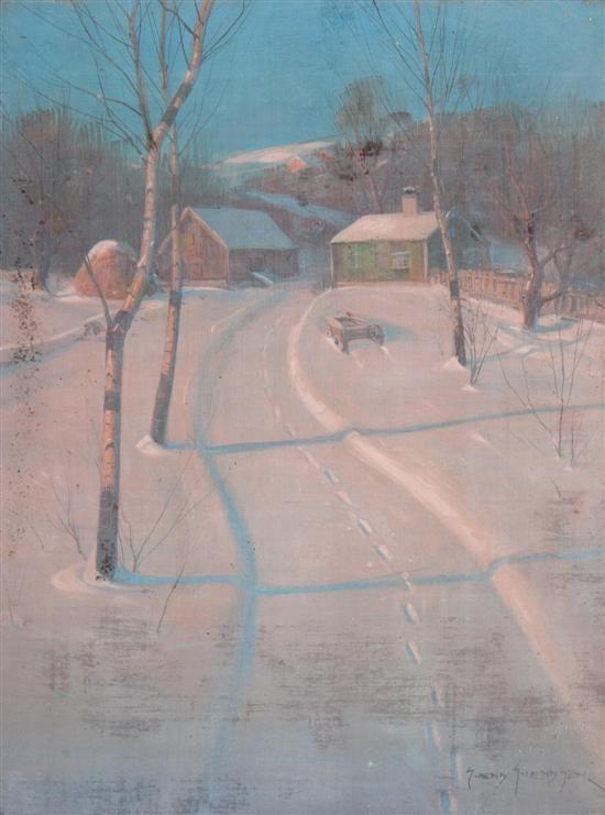 Svend Rasmussen Svendsen  (American/Norwegian, 1864-1945)  Winter Tracks  oil on canvas  signed Svend Svendsen (lower right)  24 x 18 inches.