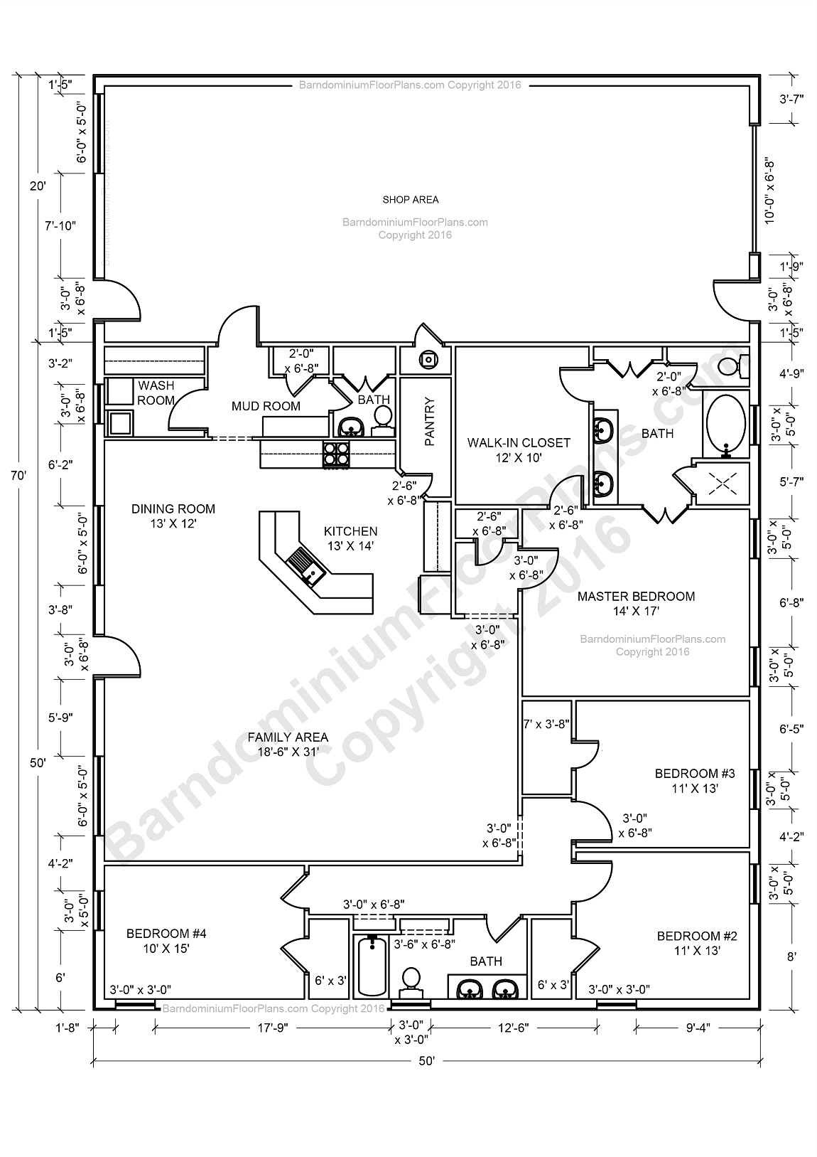 Barndominium floor plans barndominium floor plans 1 800 for Metal buildings floor plans