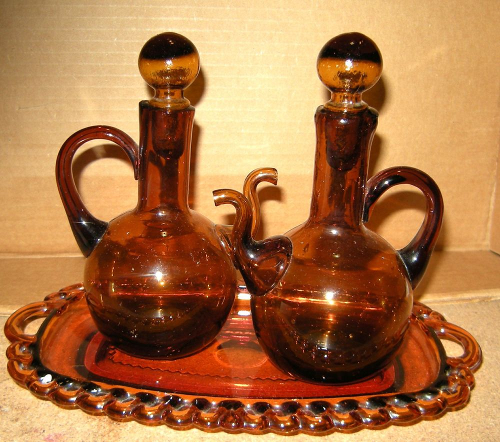 Amber Blown Glass Vinegar & Oil Cruets with Tray, Serving Pieces Tableware #unknown