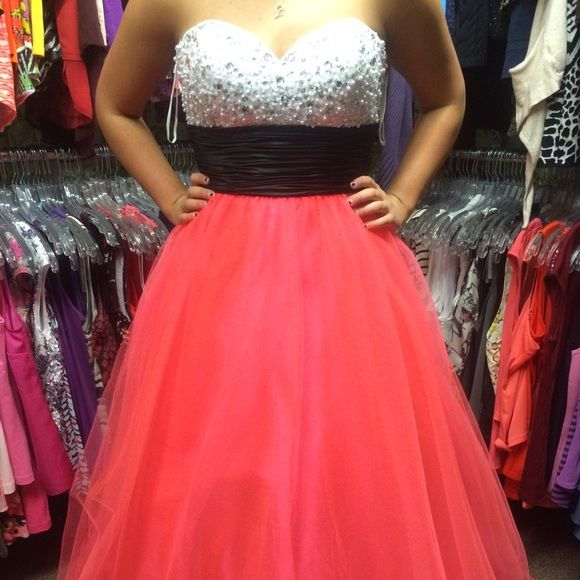 a01f1557296f7 Pink Prom Dress White beaded too, black sash, and brilliantly pink bottom!  This