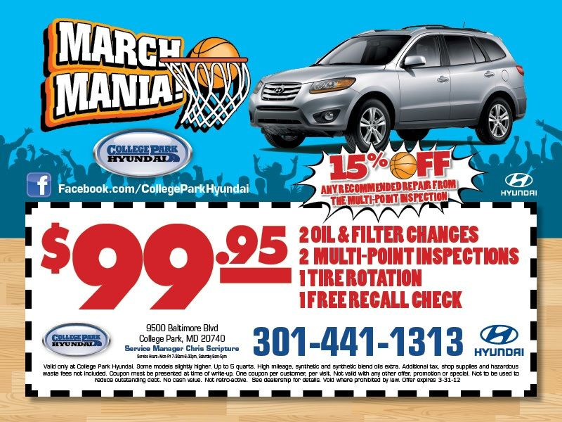 March Madness Service Special For College Park Hyundai Honda Service College Park Hyundai