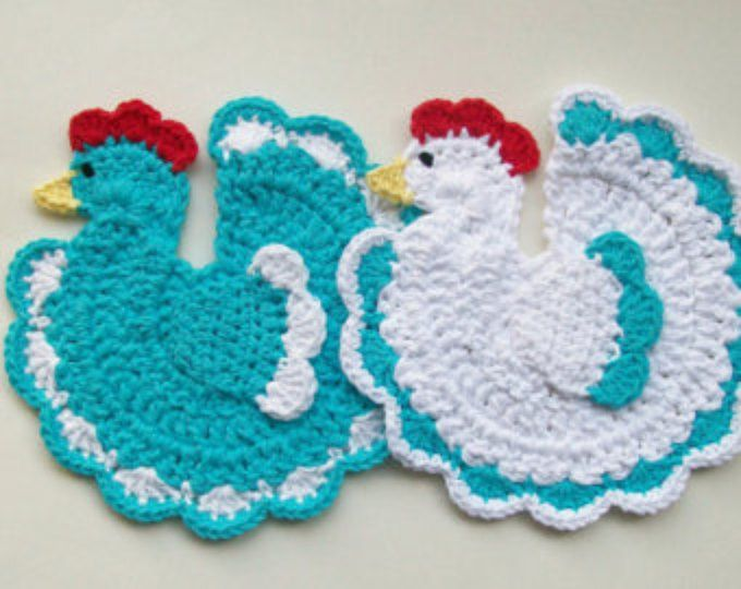 Chicken Rooster Pot Holder Potholder Blue Country Farm Animal Blue ...