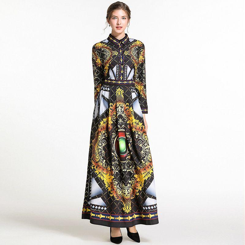 d71f2441e7 Wholesale Printed Turndown Collar Classy Dresses EYA011704BA |  Wholesale7.net