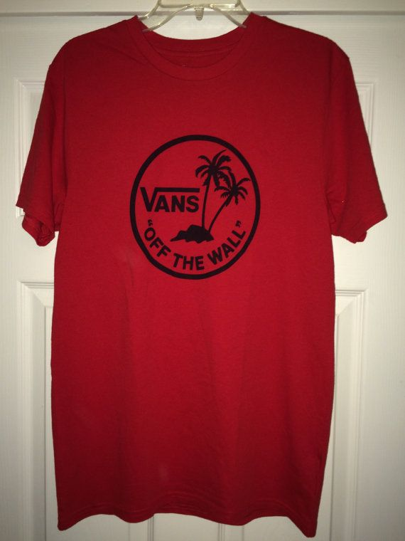 0dfa37144a76 Vintage VANS Off The Wall Red T shirt casual streetwear Recycled tee ...