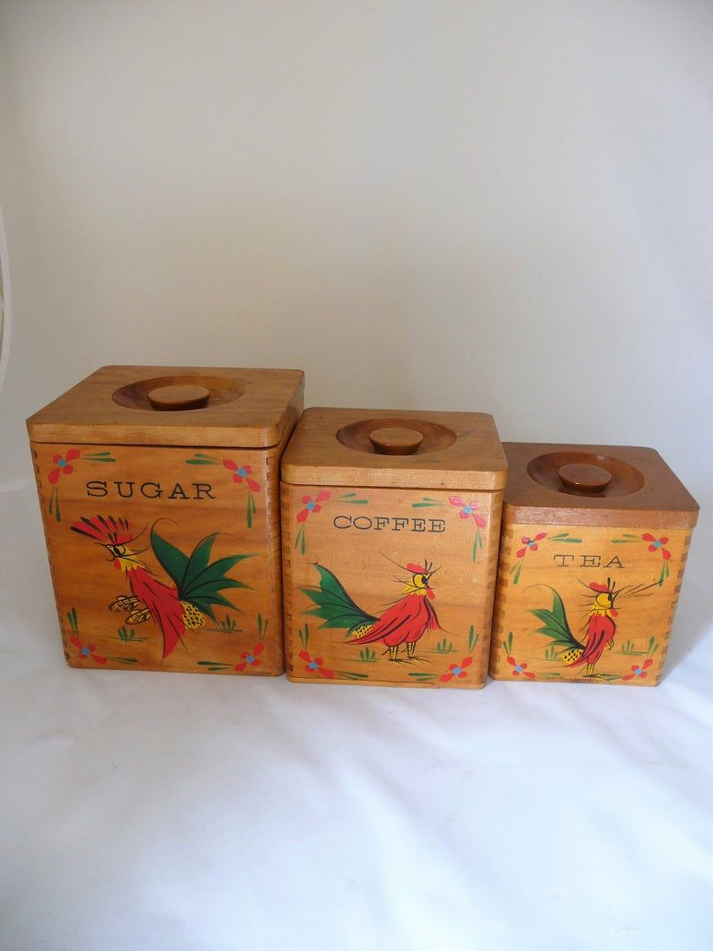 Vintage Wooden Canister Set With Hand Painted Roosters Farm Kitchen Decor In 2020 Farm Kitchen Decor Canister Sets Farm Kitchen