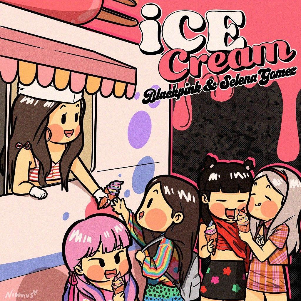 Ice Cream Blackpink X Selena Gomez Cartoon Poster Twitter Nicorius In 2020 Blackpink Poster Lisa Blackpink Wallpaper Blackpink