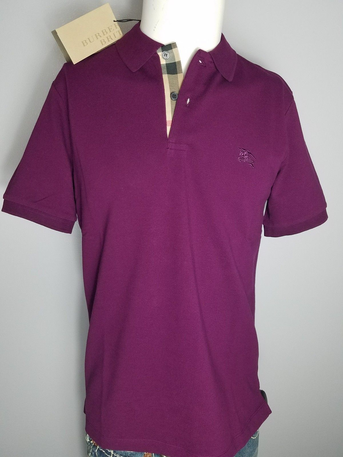 de9c3f8a Burberry Brit men purple amesthyst short sleeve nova check placket polo  shirt s,