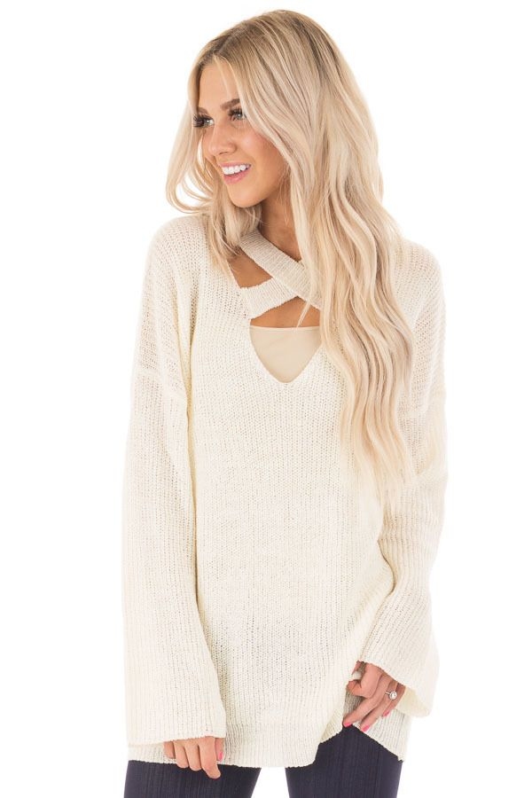 49f99c38c655d Lime Lush Boutique - Cream Oversized Sweater with Criss Cross V Neck