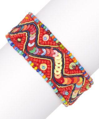 Red Sequin Velveteen-Backed Bracelet