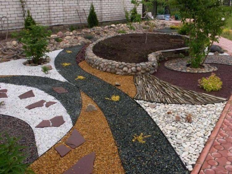 jardin moderne avec du gravier dcoratif galets et plantes - Jardin Paysager Avec Galets