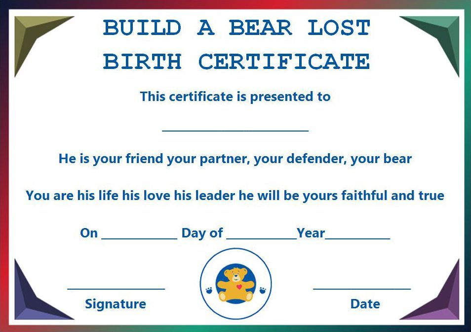 Build A Bear Certificate 13 Best And Attractive Templates Ready To Download Template Sumo Birth Certificate Template Build A Bear Certificate Template