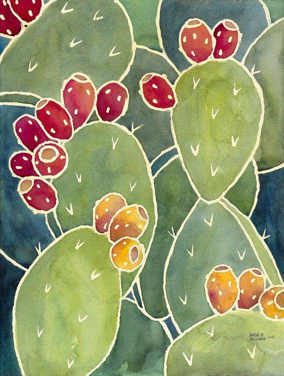 12x16 Green Prickly Pear Cactus Print Etsy Cactus