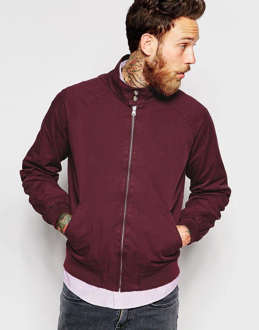 ASOS Harrington Jacket With Funnel Neck In Burgundy - Burgundy - Fashion  Shop