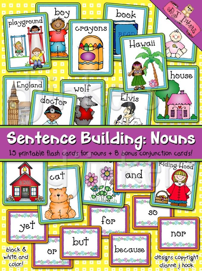 photo relating to Sentence Building Games Printable named Sentence Planning, Nouns Flash Playing cards, Language Arts, ELA