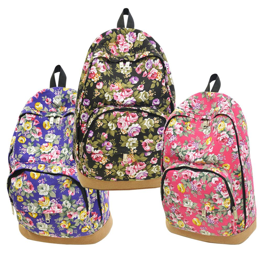 Vintage Retro Rose Floral Printing Backpack Women's Canvas Travel ...