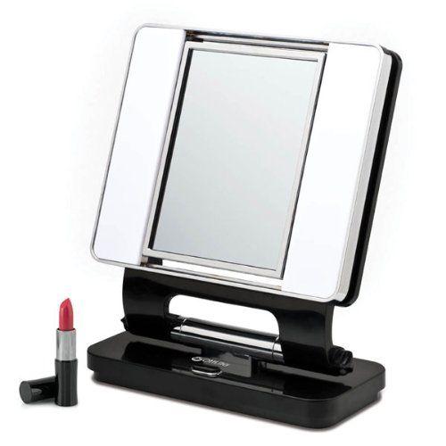 Ott Lite Natural Daylight Makeup Mirror Black Chrome 26