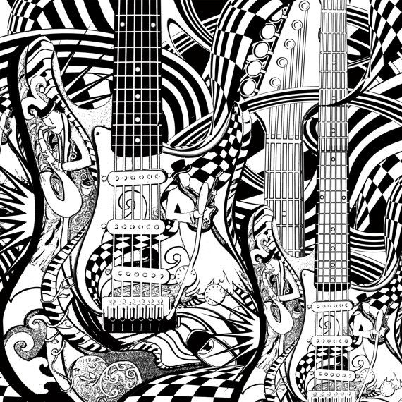 Adult Coloring Page Printable Guitar Pages Music Poster