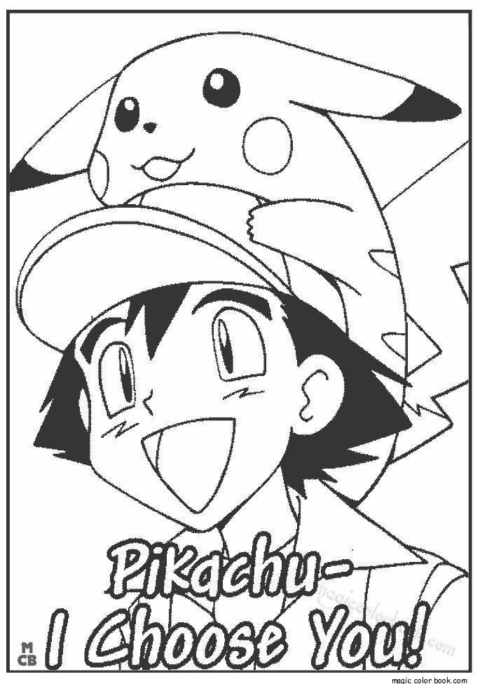 Pokémon Ash and Pikachu coloring pages free | Coloring pages | Pinterest