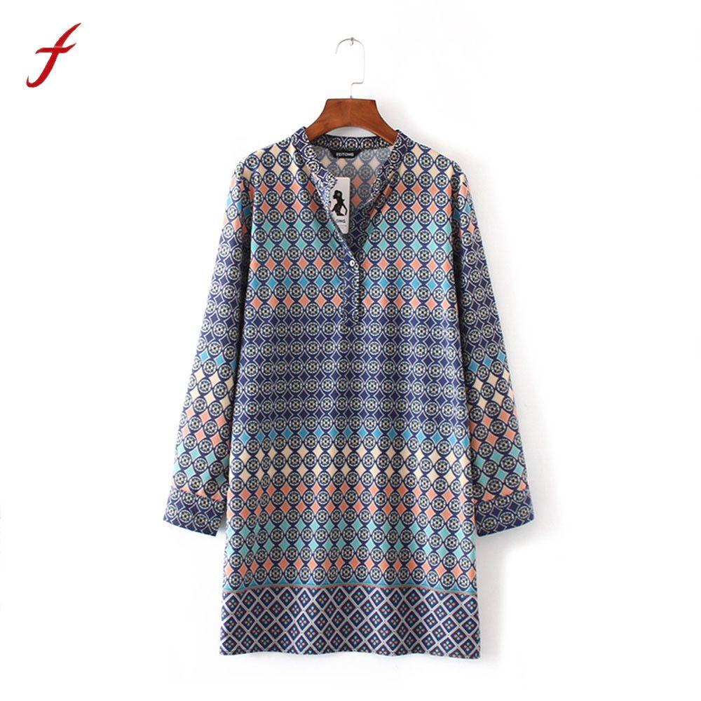Women summer dress chiffon long sleeve v neck sexy geometric pattern