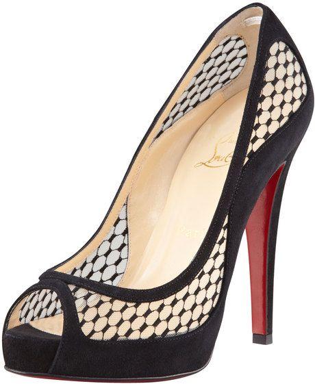 3df047c49025 release date plain satin christian louboutin sandals d7525 cc066  real  milla fishnet suede platform red sole pump lyst if the shoe fits. pinterest  cheap