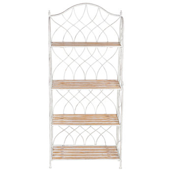 Antique White Swirl Metal Four Tiered Baker S Rack Bakers Rack Antique White Wood Shelves