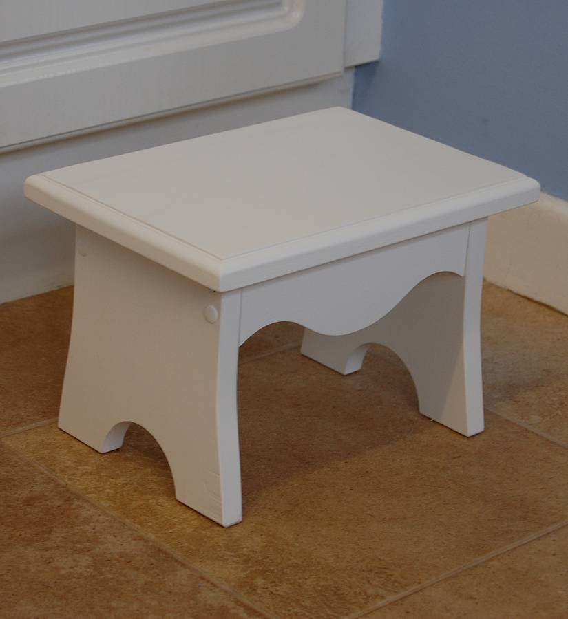 Childrens White Wooden Step Stool By Furnitoys