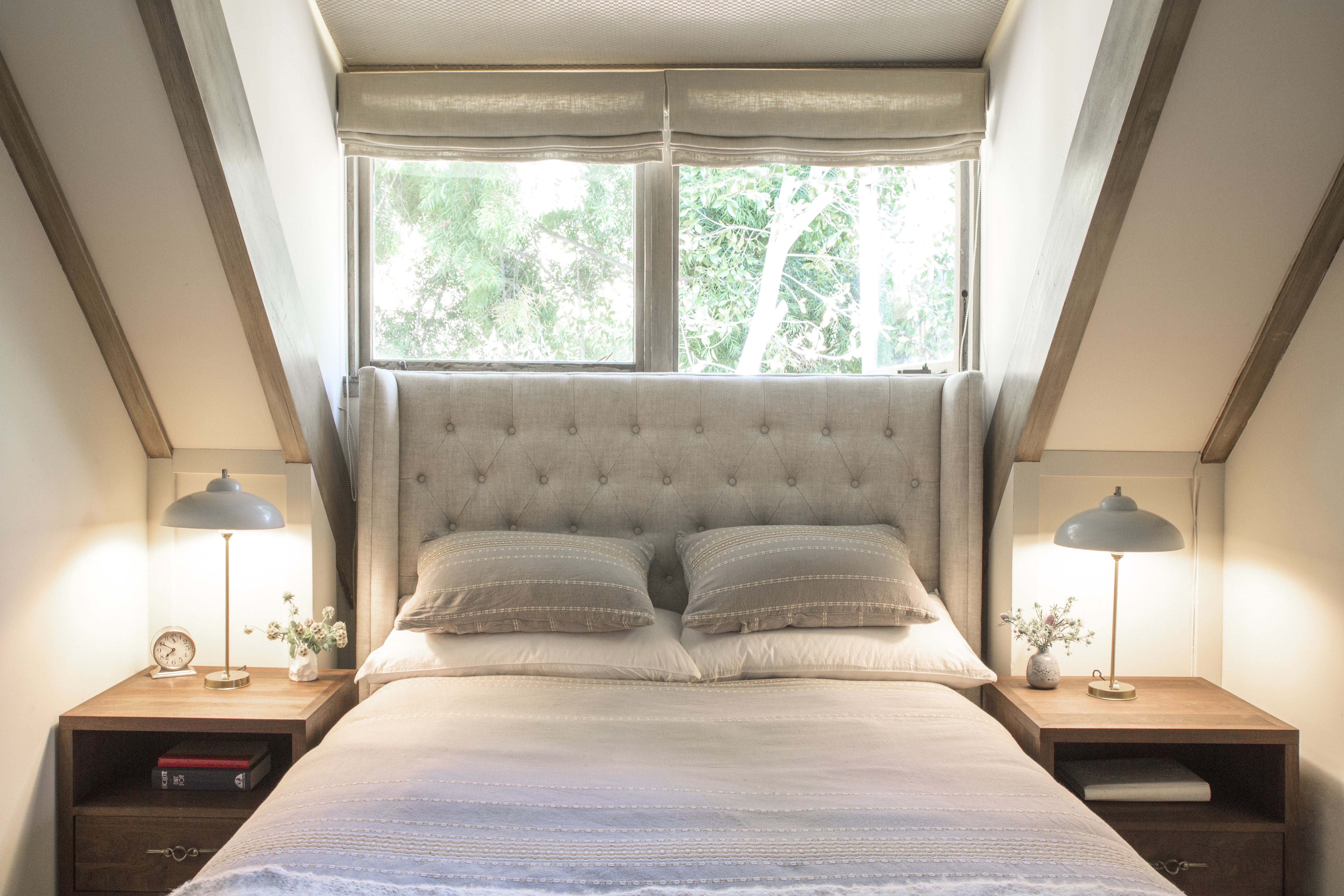 Brass Bedside Lamps in Room With Restoration Hardware Bed