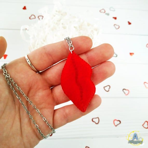 Red Lips Felt Pendant Personalized Red Pendant Lips Necklace Mouth
