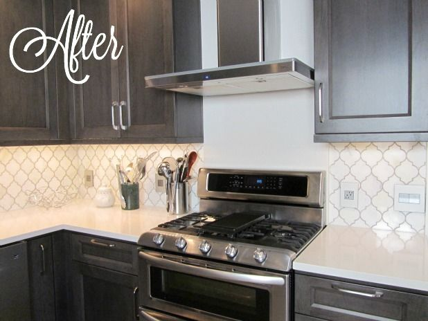 Image Result For Grey Arabesque Tile With Espresso Cabinets