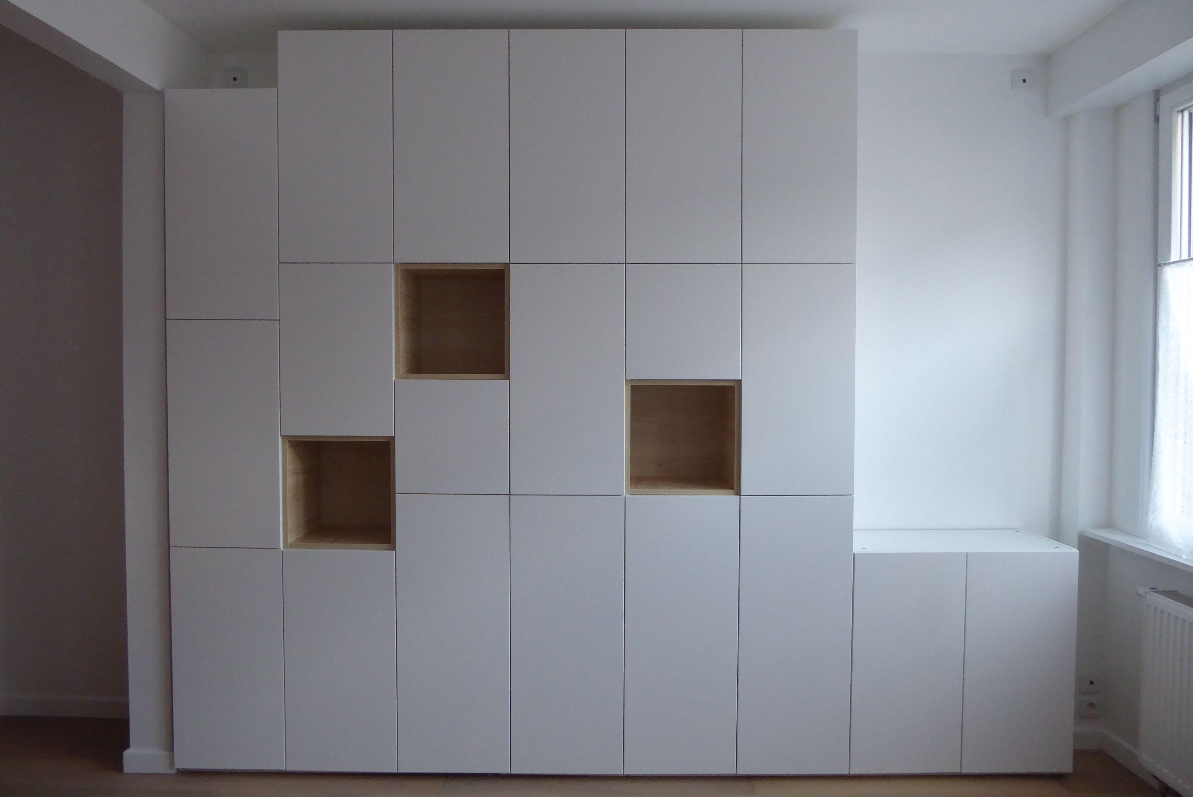 bibliotheque faite à partir de metod (ikea) | mur placard salon en