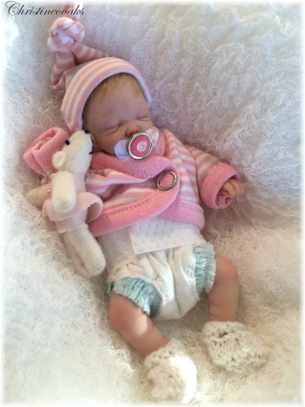 Ooak Hand Sculpted Mini Polymer Clay Baby Art Doll