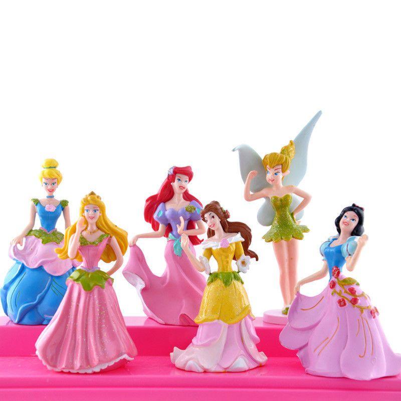 6pcs cake toppers disney princess cinderella snow white