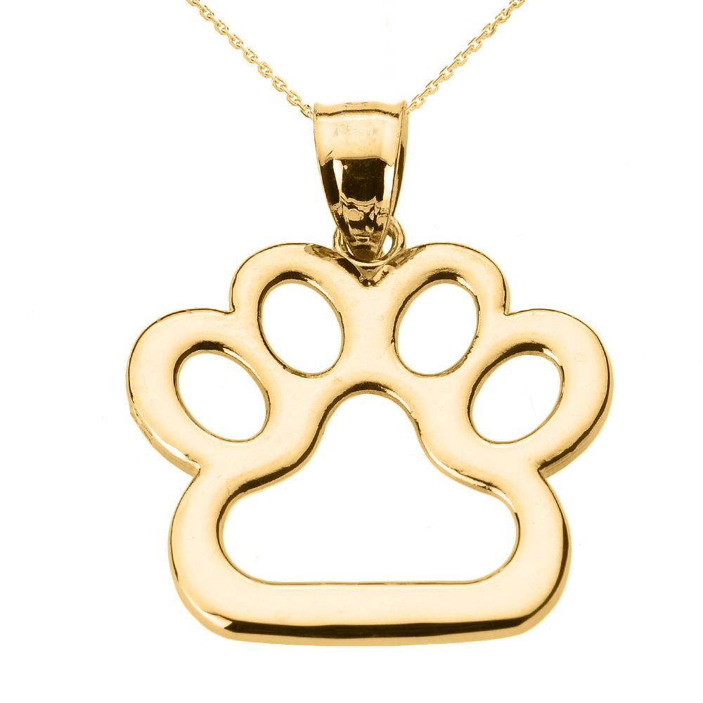 Yellow gold dog paw print pendant necklace dog paws pendants and dog