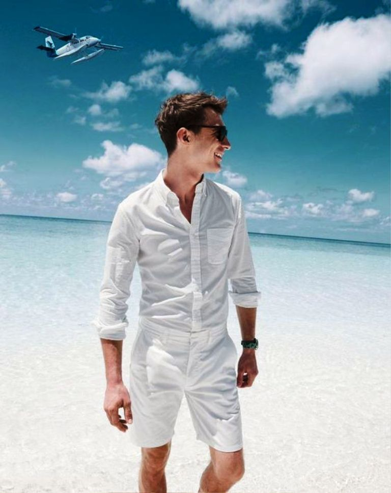 brave all white beach outfit men women