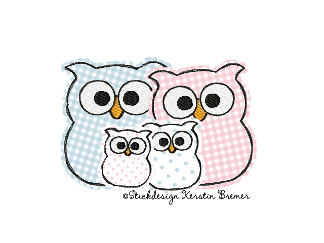 Eulen Familien Doodle Stickmuster für eine Stickmaschine. Family owl doodle Appliqué embroidery for embroidery machines.