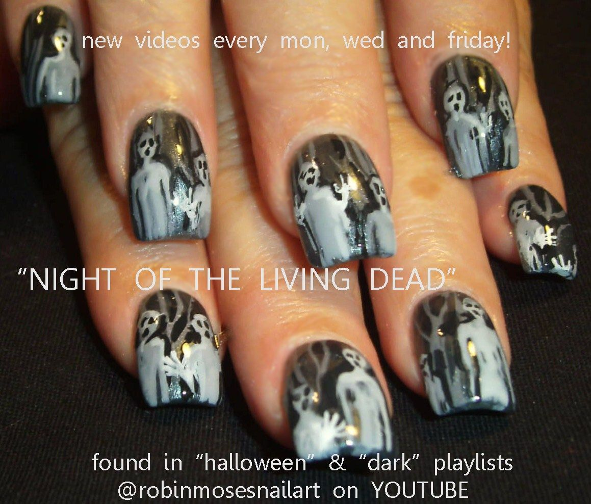 Your Own Nail Art Night Of The Living Dead Nail Art Zombie Nail