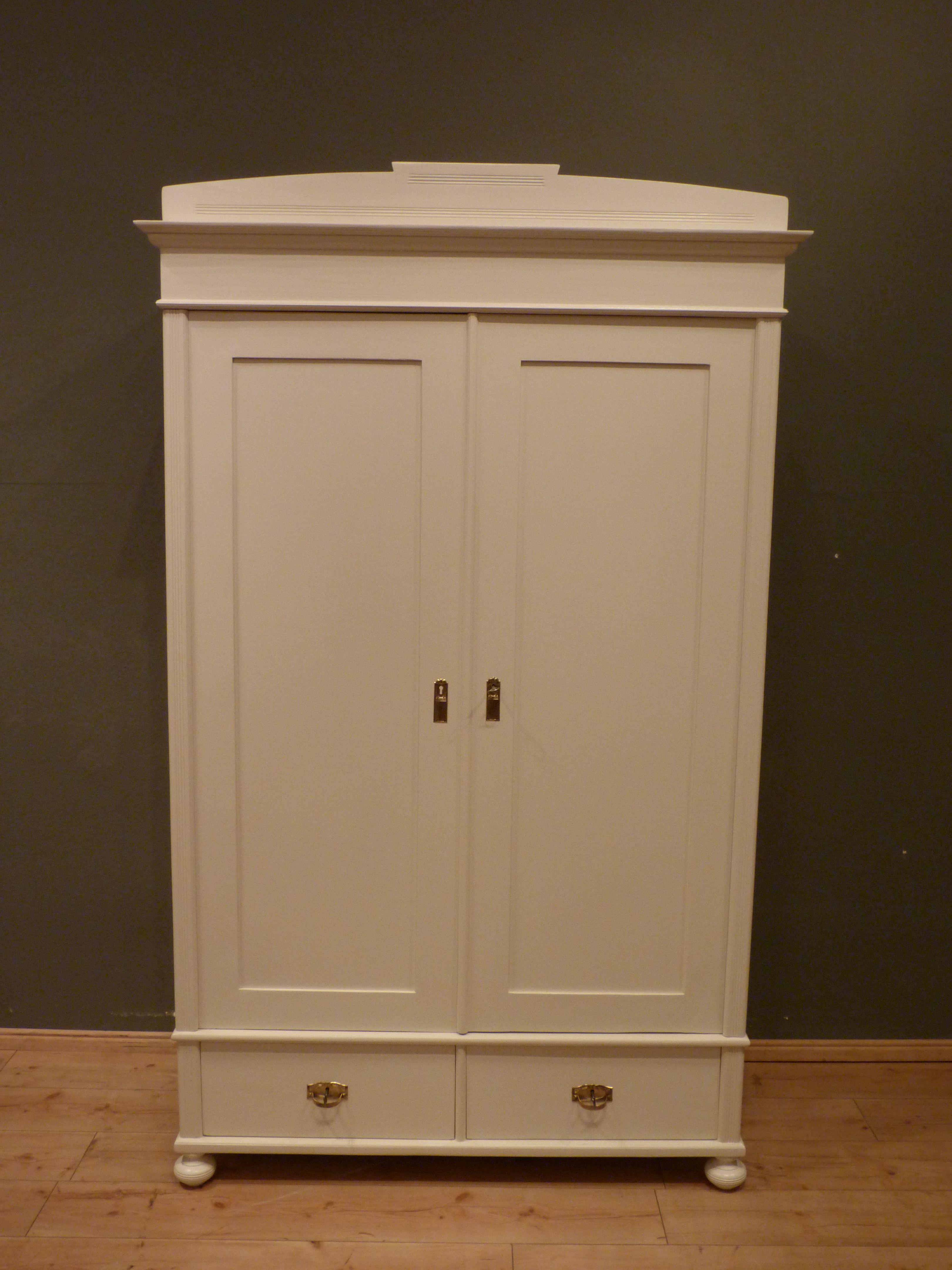 Jugendstil Kleiderschrank Kiefer Weiß Lasiert Um 1900