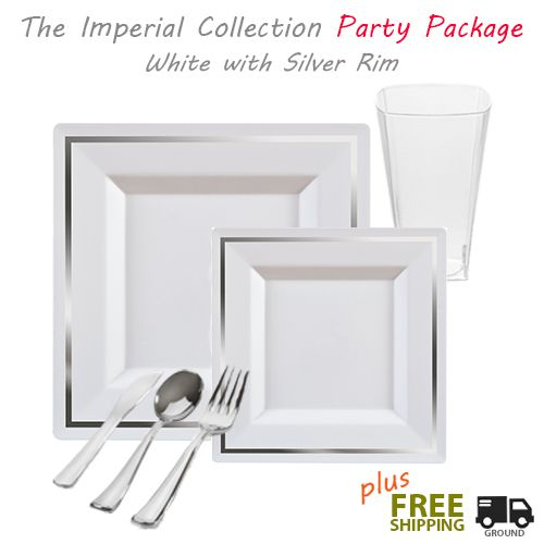 Posh Party Supplies - Imperial GRAND Party Package - Square White with Silver Rim Dinner Settings  sc 1 st  Pinterest & Bari Square White with Silver Plastic Tableware Package | Posh ...
