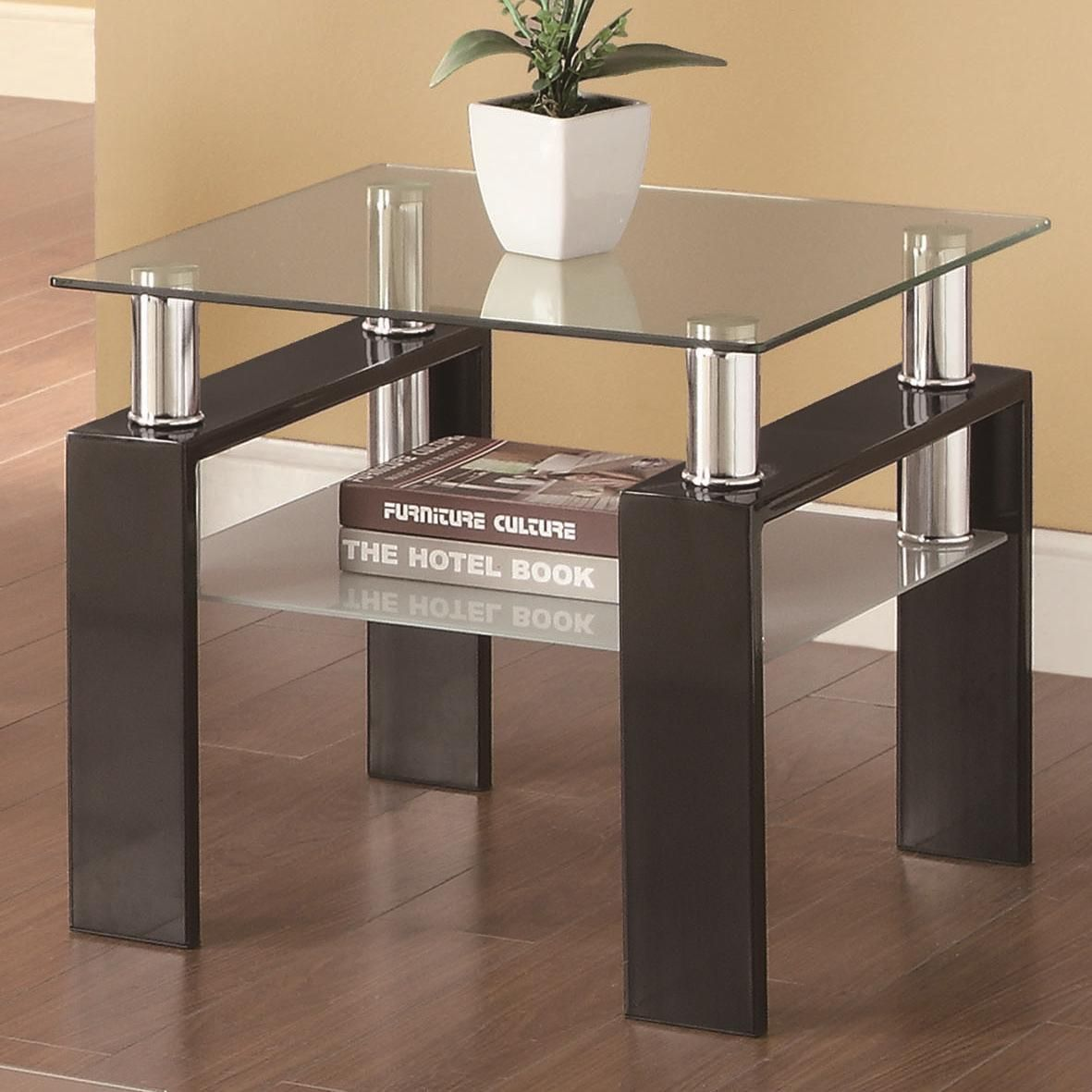 Coaster 702287 140 00 Glass Top End Tables Coffee Table Furniture [ 1181 x 1181 Pixel ]