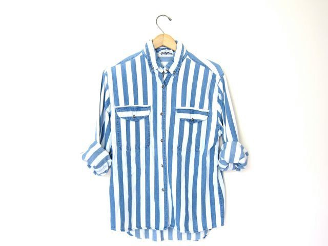 Vintage Blue and White Collared Shirt