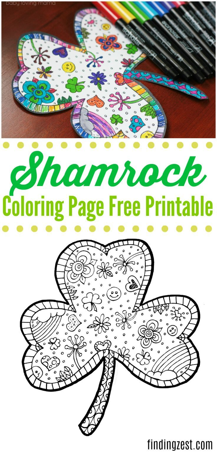 Shamrock Coloring Page Free Printable | Free printable, Rainbows and ...