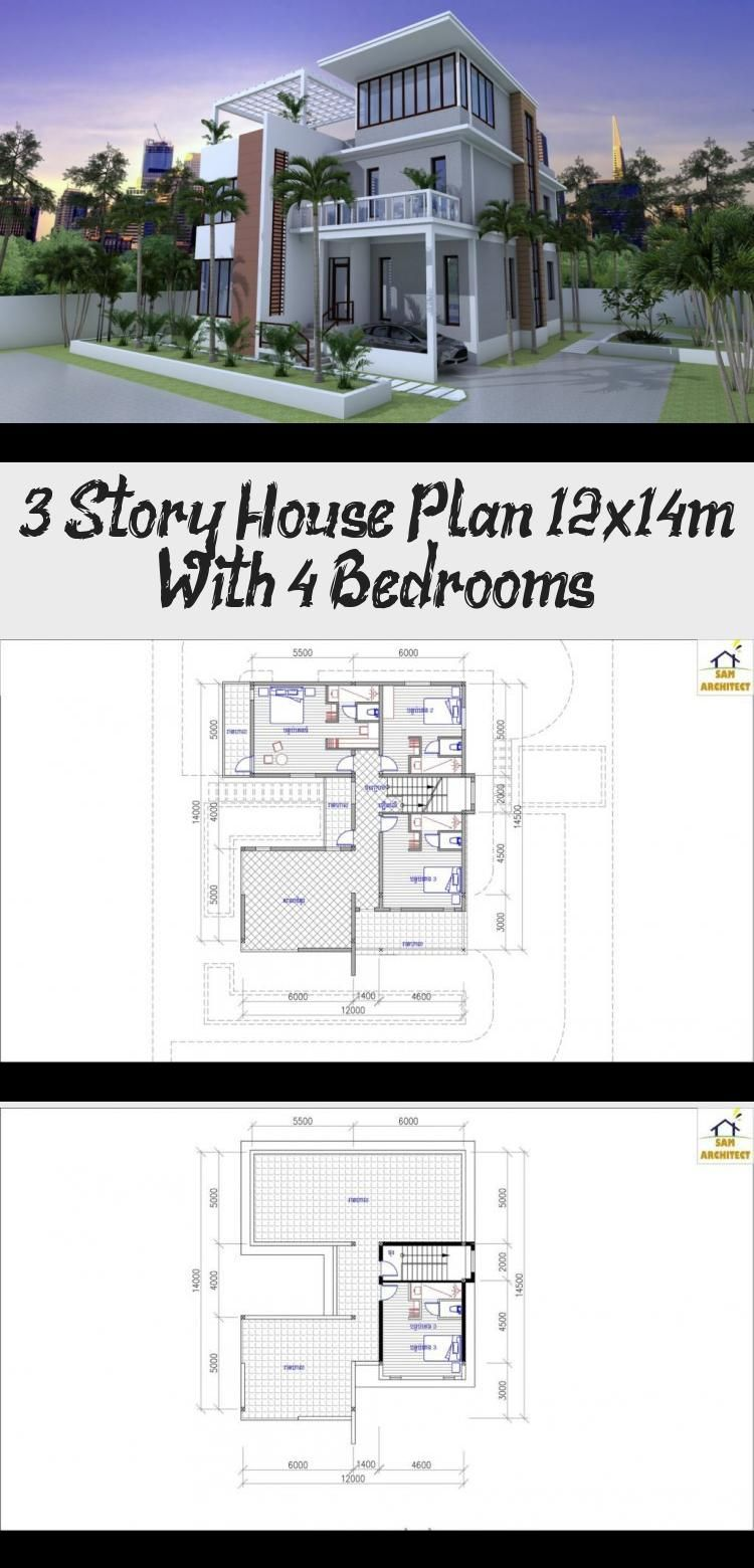 3 story house plan 12x14m with 4 bedrooms samphoas