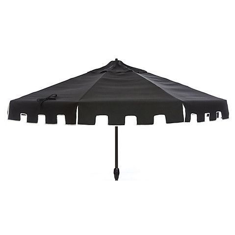 Poppy Greek Key Patio Umbrella, Black