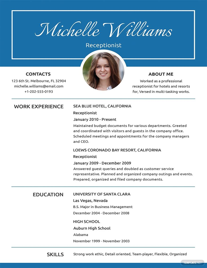 Free basic receptionist resume template in 2020 basic