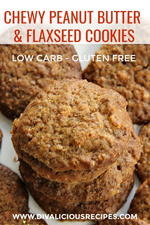 Chewy Peanut Butter & Flaxseed Cookies is part of Keto cookies - Peanut butter and ground flaxseed come together to make a healthy and filling cookie  Gluten free and low in carbs these cookies are a great snack