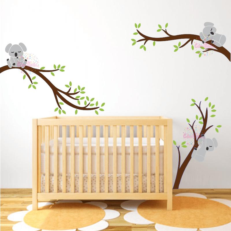 Vinilo Decorativo Infantil Koala Rama Ramas Y Arboles