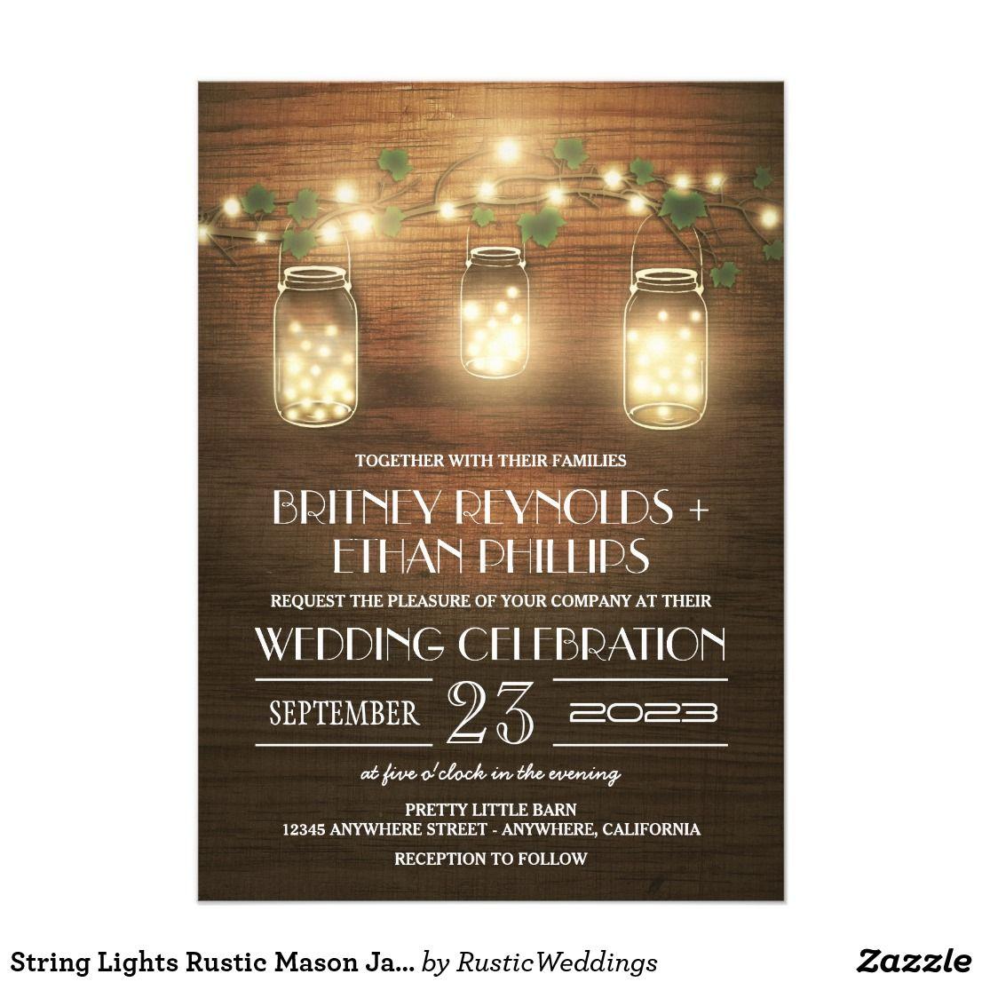 String Lights Rustic Mason Jar Wedding Invitations