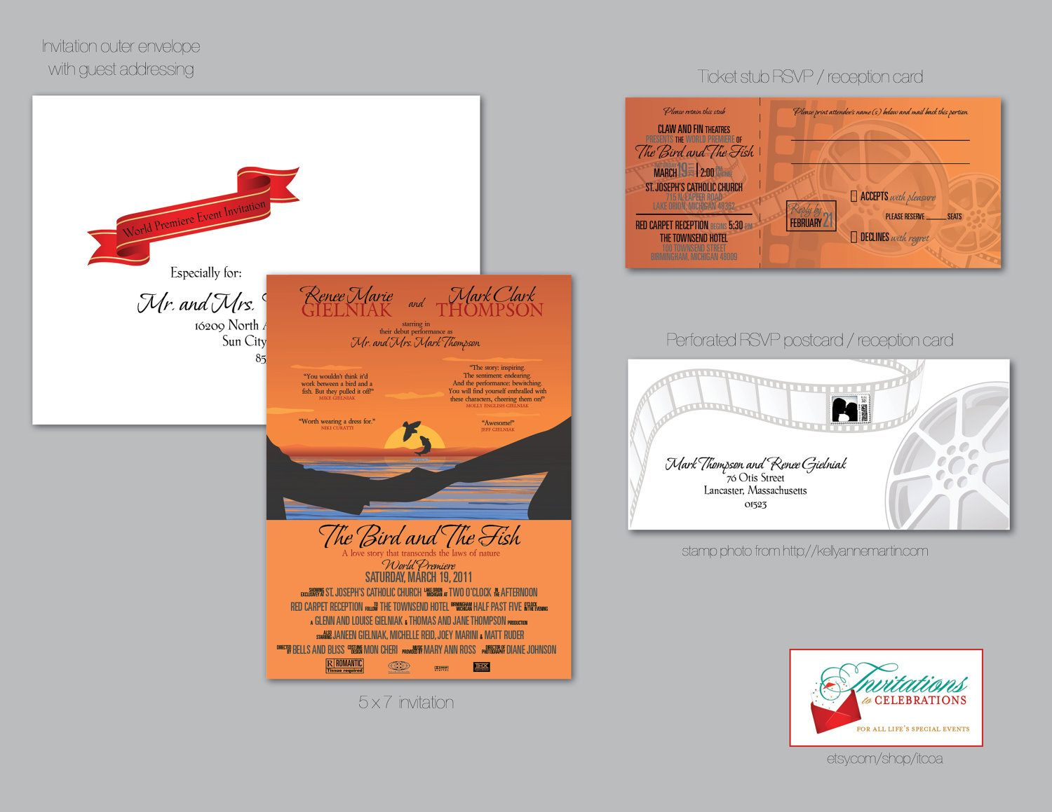 Movie theater poster wedding invitation suite with tear off ticket ...